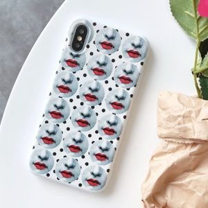 NEW iPhone XS Max/7+/8+ Vintage Emboss Lips Case